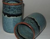 Pottery Iced Tea Tumbler in Starry Night Blue, 18 oz Handleless Mugs, Wheel Thrown