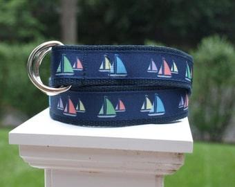 Sailboat Belt for Younger Boys / Sailing Belt / Boys Belt / Navy Belt / Nautical Belt / Canvas Belt for Boys
