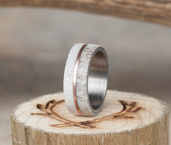 Mens Wedding Band Elk Antler Titanium Wedding By StagHeadDesigns