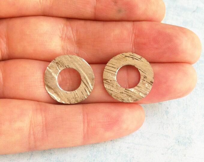 stud sterling silver earrings - fusing metals: silver, brass & copper - open circle earrings
