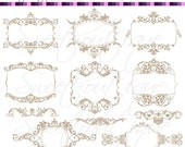 SALE BEIGE Digital Clipart Frames wedding clip art  Embellishment Text Dividers Buy 3 get 1 free clipart 0690