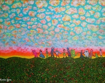 """Psychedelic Art Print """"Lets Go Everywhere"""" 11/17inch"""