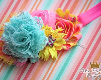 Trendy Tropics - Headband, Baby Headband, Photography Prop, Couture Headband, Hair Clip, Summer Headband, Hawaiian Headband, Aqua Yellow