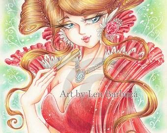 PRINT - Rosequeen - Color pencils illustration