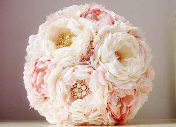 Fabric Flower Wedding Bouquet, Weddings,  Brooch Bouquet,  Fabric Bridal Bouquet,  Vintage Wedding - 50% DEPOSIT PAYMENT
