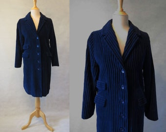 Dark Blue Jumbo Cord Coat - 1960s