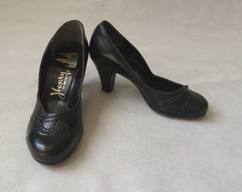 1950s - Black High Heeled Shoes, Pumps - Dead Stock