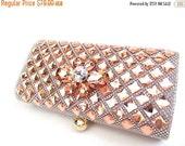 SALE 30% OFF Crystal Clutch, Peach Crystal Rhinestone Bridal Clutch, Crystal Wedding Purse