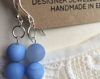 Blue Agate Drop Earrings, Agate Dangle Earrings, Handmade Earrings, Designer Agate Earrings, K Brown Jewellery, Edinburgh Designer, U.K.