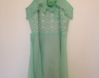 Promdress mint pastel lace vintage dress 1950