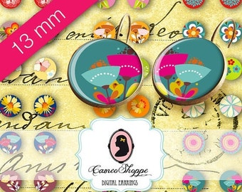 75% OFF SALE Digital Collage Sheet Circle COLORFUL Flowers 13 mm Digital Collage Sheet for 12 mm pairs of earrings