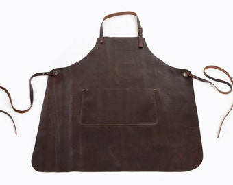 Full leather apron in Espresso Brown or Black.   Made to order