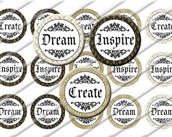 Inspire Dream Create  Bottle Cap Images 1 inch circle image sheet Digital Collage INSTANT DOWNLOAD