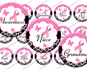 Breast Cancer Awareness  Bottle Cap Images, 1 inch circle image sheet, Digital Collage Sheet, INSTANT DOWNLOAD  Printable, Cupcake Toppers