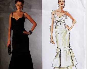 Dress, Evening Gown by Badgley Mischka - 2000's - Vogue Pattern 2963 Uncut Sizes  6-8-10   Bust 34-36-38""