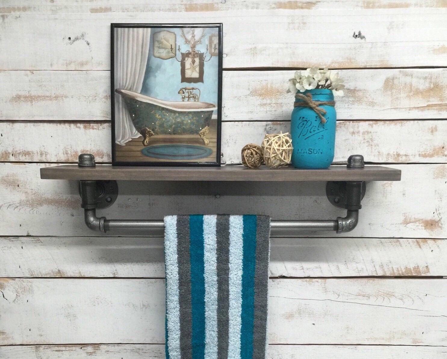industrial towel rack shelf rustic shelves industrial decor. Black Bedroom Furniture Sets. Home Design Ideas