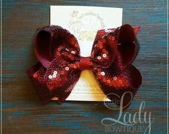 Large hair-bow-sequins hair-bow-little girls hair-bow-cheer hair-bows-dance hair-bows-sequins hair-bow-6 inch sequins hair-bow-sequins