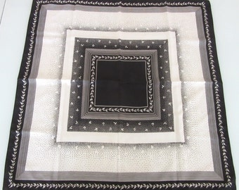 Poly Twill Scarf Sateen Finish Elegant Black & White 27 Inches Square Vintage Retro