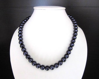 Purple Glass Pearl Necklace Single Strand 16 - 18 Inches
