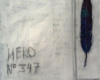 "Original Painting  ""Hero 347"" by Sheila Cameron  16"" x 16"" on Birch Panel"