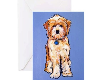 Labradoodle Dog #2 - 4 Greeting Cards By Artist A.V.Apostle