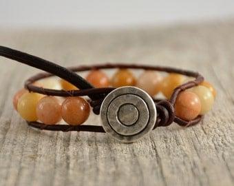 Chunky goldenrod bead bracelet. Stone bead yellow bracelet