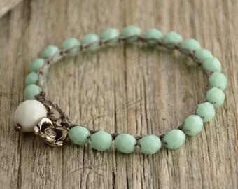 Crocheted bracelet. Beaded pale jade, mint crochet bracelet