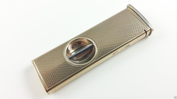 VINTAGE...9Ct Solid Yellow Gold Cigar Cutter, With Guillotine Blade... Must C .