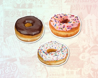 Donuts Set of 3 Stickers