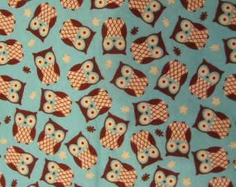 Blue with Brown Owls Toss Flannel Fabric by the Yard