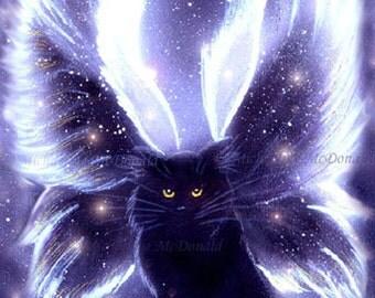 Fairy Cat Painting - purple fairy cat, fairy cat art, winged cat painting, fairy cat poster, fairy cat gifts, cat lover gift, fantasy art