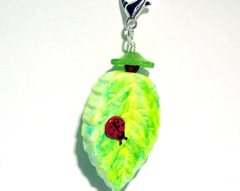 Leaf with Lady Bug Zipper Pull - Purse Charm - Handmade Polymer Clay Bead