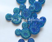 Mouse ears rhinestone *Blue AB* Mouse head flat back resin - 30mm x 35mm Hair bow Center