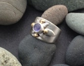Sterling silver ring, small band with periwinkle purple tanzanite gemstone, unique metalwork, mixed metal, size 5.5 Elfin Works design