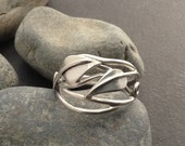 Leaf ring with two leaves, solid sterling silver vines branches tendrils, individually handcrafted, Elfin Works design, fits size 8 & 3/4