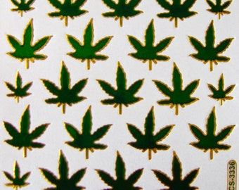 "Blast From The Past... Iridescent/Foil Die-Cut Stickers ""Marijuana""  30 Pieces"