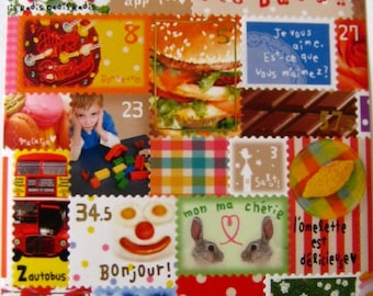 """CLEARANCE Fun Postage Stamp Stickers with a """"French Flair"""""""