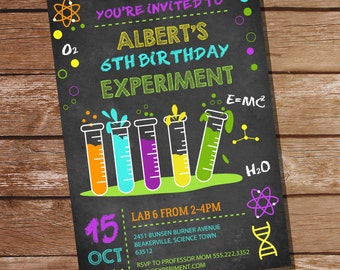 Science Experiment Party Invitation for a Boy - Science Party - Instant Download and Editable File - Personalize at home with Adobe Reader