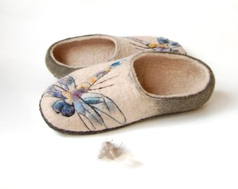 Cream brown felted slippers dragonfly art slippers womens gift wool felt slippers handmade house shoes with leather soles to order