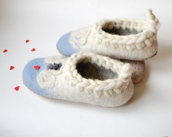Aries zodiac art - slippers for girls - felted slippers - felt wool slippers - teens felted slippers - pastel blue slippers -3 US 34EU