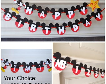 "Mickey Mouse 1st Birthday Party Pack Happy BirthdayBanner with Age Custom Name Option / Photo Banner / ""I AM 1"" by FeistyFarmersWife"