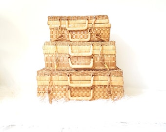 Anna Hackathorn Nesting Wicker Suitcases, Set of 3 ~ Stacking Suitcases Display ~ Rattan/ Woven Picnic Basket ~ Travel / Beach Bag/ Luggage