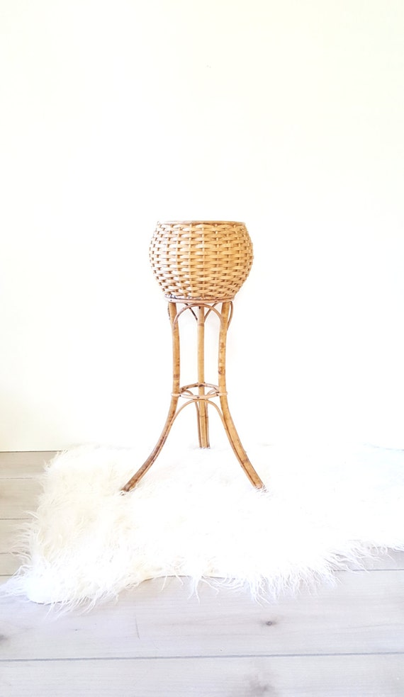 Bamboo Plant Stand Two Tier Vintage Tall Bamboo Rattan