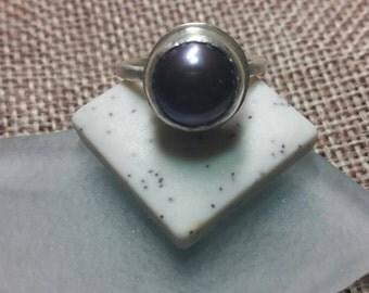 Tahitian pearl ring, sterling silver sz8
