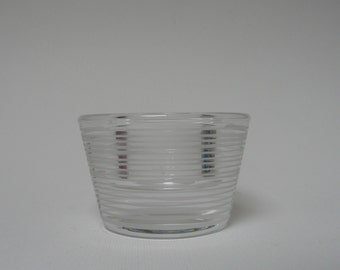 Vintage Swedish Orrefors Glass Candle holders/votives heavy thick walled retro shape and tripes