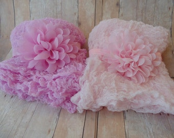 Lt Pink and Pink Chiffon Flower, OR  Rose and Baby Pink  Hand Dyed Cheesecloth wratp ..Phothgraphy Props... Newborn Headbands