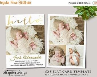 SALE Birth Announcement  Template, Photography Photoshop 5x7 Card Template, sku ba16-3