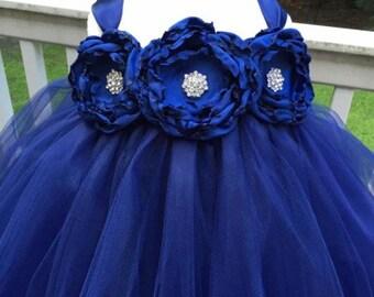 Navy Flower Girl Dress - Tulle Flower Girl Dress - Wedding Dress - Birthday Dress - Toddler Tutu Dress - My Precious Tutu