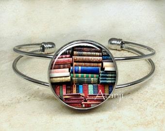 Book bracelet, books bracelet, bookshelf bracelet, book bangle, book jewelry