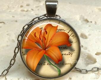 Orange Tiger lily pendant, orange flower pendant, orange flower necklace, lily pendant, lily necklace, Pendant #PL154GM
